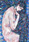 original painting A3 332RM art samovar watercolor modern female nude Signed 2021