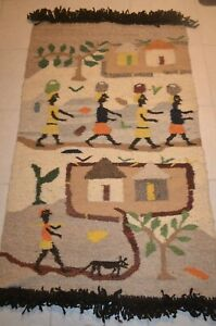 We Are Going Home From Work Lebowa South Africa hand woven tapestry folk art vtg