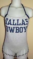 Ladies Dallas Cowboys Reconstructed Fringed Beaded NFL Football Shirt Halter Top