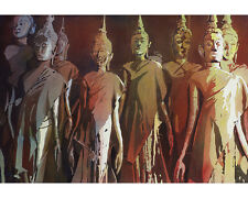Standing Buddha statue in Wat in Vientiane, Laos (reproduction).  Watercolor art