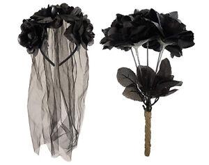 Zombie Corpse Bride Set Veil Headband & Black Dead Roses Halloween Fancy Dress