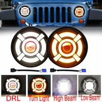 2pcs 7'' LED Headlight Halo Angle Eye Hi/Lo Beam For Jeep Wrangler JK TJ CJ LJ