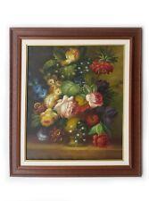 Dipinto Olio su Tela con Cornice - 67x77 cm - Composizione Floreale - Quadro