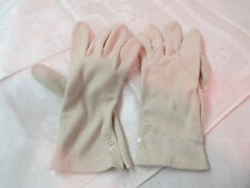Vintage Philippines stretch 100% Nylon Ladies Gloves tan 6 1/2 to 7 1/2