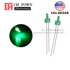 100pcs 2mm Diffused LED Diodes Green Color Green Light DIP Flat Top USA