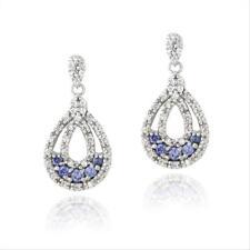 925 Silver Tanzanite & Clear CZ Double Teardrop Dangle Earrings