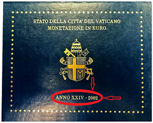 VATICAN 2002 COFFRET BU Le + Rare avec le PAPE JEAN-PAUL II (8 pièces 1CT à 2 €)