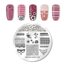 NICOLE DIARY Round Nail Stamping Plates Flower Rose Valentine's Day Series 035
