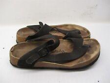 BETULA Sandals Women's Size 8 Casual Comfort Buckle Black Leather Flip Flops