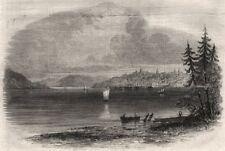 Vista di Lunenburg dal punto di batteria. NOVA SCOTIA, antica stampa, 1861