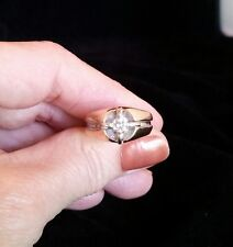 14K Two-tone Mens Gents Hefty Diamond Solitaire Ring FREE SIZING!!!