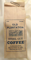 1930s Hulman Terre Haute,IN Old Plantation Steel Cut Coffee Bag Advertising 1