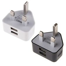 UK Mains Wall Plug Travel Adapter Charger 2 AMP Dual USB iPhone iPad Samsung HTC