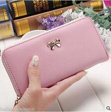 Women Ladies Modern Leather Zipper Bag Card Money Purse Wallet Long Handbag EW