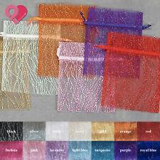 144 BULK Sparkle Glitter Stripe Organza Wedding Party Favor Gift Candy Bag Pouch