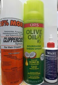 Clippercide Spray Clippers5in1 Formula Lubricates cleanCool+wahl oil+ olivesheen