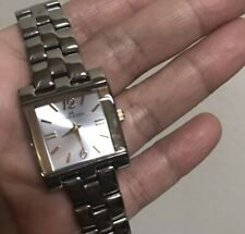 Women's AK Anne Klein Two Tone Squared Bracelet Watch 6.5 inches No Extra Links