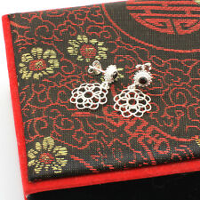 Sterling Silver Filigree Flower Dangling Earrings With Gem Onyx-Wholesale Price