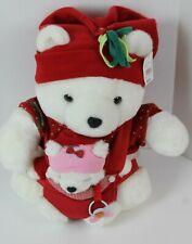 "2002 Santa Bear Christmas White Plush with Baby  Girl 17"" Dayton Hudson"
