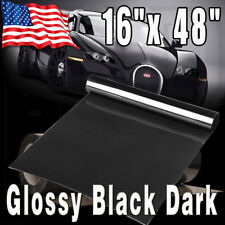 "16"" x 48"" Gloss Dark Black Smoke Headlight Taillight Tint Vinyl Film Cover Sheet"