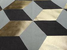 Pierre Frey Curtain Fabric 'Kubus' 0.9 METRES (90cm) Gold/Chocolate Linen Blend