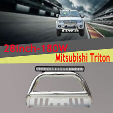 Stainless Steel Mitsubishi Triton 09-15 Nudge Bar Bumper Guard +180W Cree Light