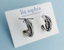 "Lia Sophia ""Intertwined"" Silver Tone Triple Hoops Earrings"