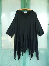 Transparente Lagenlook 3/4 Sleeve Tunic Dress -O/S- Black Jersey