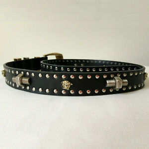 GIANNI VERSACE black leather Medusa Nuts Bolts studded belt size 75/30 from 1994