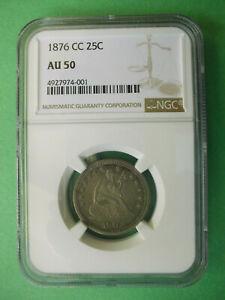 1876 CC 25c AU50 Carson City Mint Centennial Coin