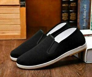 Mens Martial Art Kung Fu Ninja Chinese Shoes Slip On RUBBER Sole Canvas Slippers