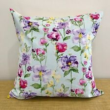 "16""/18""  Watercolour Fabric LAVENDER/AQUA Floral Cushion Cover. Made Australia"
