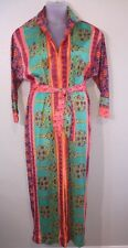 Vintage Ruth Walter 60's 70's Mod Maxi Zipper Dress Bright Colors Boho Size M