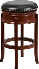 29'' Backless Light Cherry Solid Wood Bar Stool with Black Leather Swivel Seat