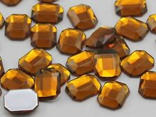 10X8mm Brown Smokey Topaz A22 Flat Back Octagon Acrylic Gemstones - 70 PCS