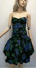 True Vtg 80s Prom Dress Drop Waist Tiered Poof Black Gold Floral Party Evening