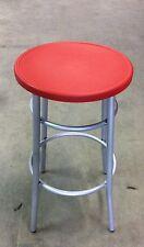 Sgabello medio per bar,cucina in metallo senza schienale seduta rosso plastica