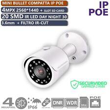 TELECAMERA IP POE 4MPX MINI BULLET 3.6mm H264/265 SD CARD 20 IR SMD LED IP66