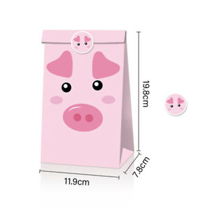 12Pcs Cartoon Farm Animals Paper Candy Gift Bags Pig Cow Party Decor Sweet G.bl
