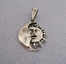 Mexican 925 Silver Taxco Crescent Moon and Sun Face Eclipse Cut Out New Pendant