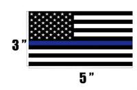 """2 THIN BLUE LINE 3"""" X 5"""" BLUE LIVES MATTER AMERICAN FLAG BUMPER STICKER  #8004"""