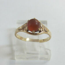 10K Yellow Gold Baby Ring with Oval Orange Stone Size 3