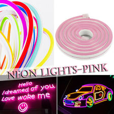 5M/16.4ft Pink Waterproof LED Strip Neon Light 2835 SMD Flexible Silicone Tube