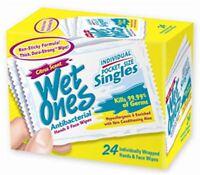 WET ONES Moist Towelette, Antibacterial, Citrus, Singles 24 ea (Pack of 2)