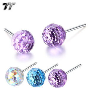TT 925 Sterling Silver 4mm Round Made with Swarovski Crystal Earrings (925E05)