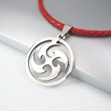 Silver Round Ninja Tribal Pendant Womens Mens 3mm Braided Red Leather Necklace