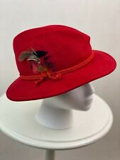 Vintage red wool fedora hat with plume feathers