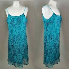 New Yessica Women Slip Vintage Dress Blue Print Sequin Chiffon Party Occasion 12