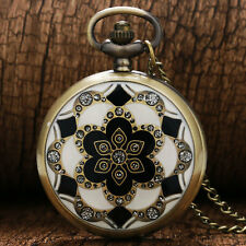 White Jade Crystal Quartz Pocket Watch Necklace Pendant Chain Men Women Gift+Bag