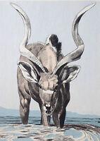 PAUL JOUVE GRAVURE ANIMALIERE chasse massacre ART DECO ANTELOPE ANTILOPE